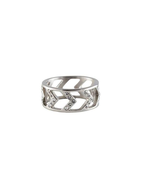 Silver Chevron Ring - Size 8