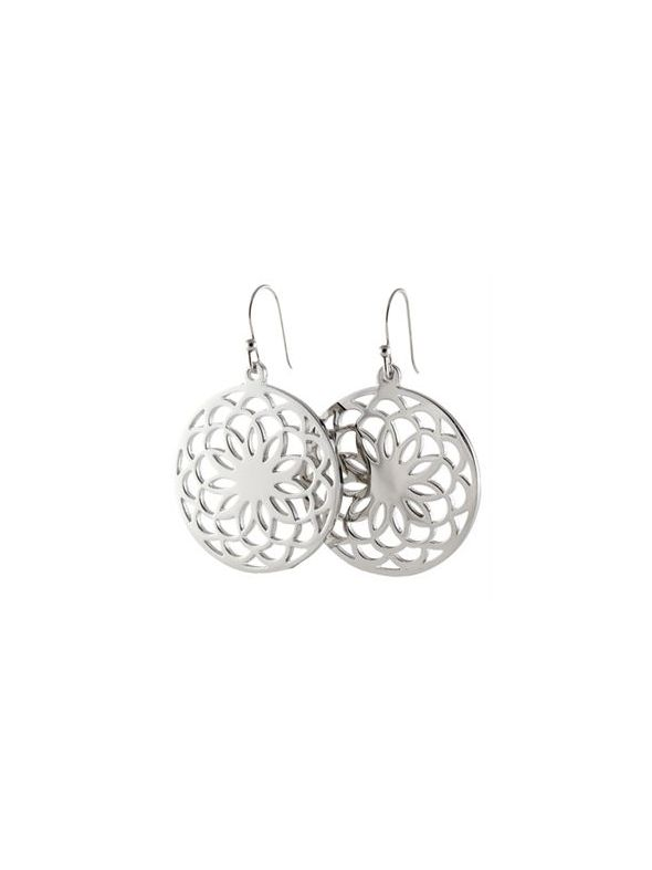 Silver Flower Screen Earrings