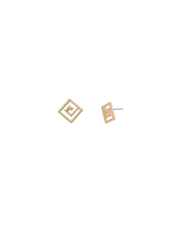 Greek key Studs Gold